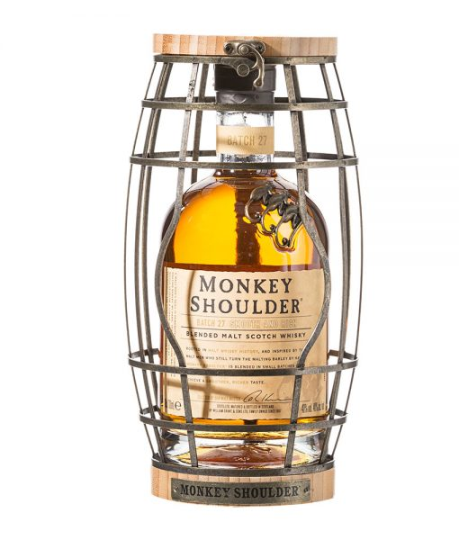 Monkey Shoulder Scotch Whisky in a Barrel