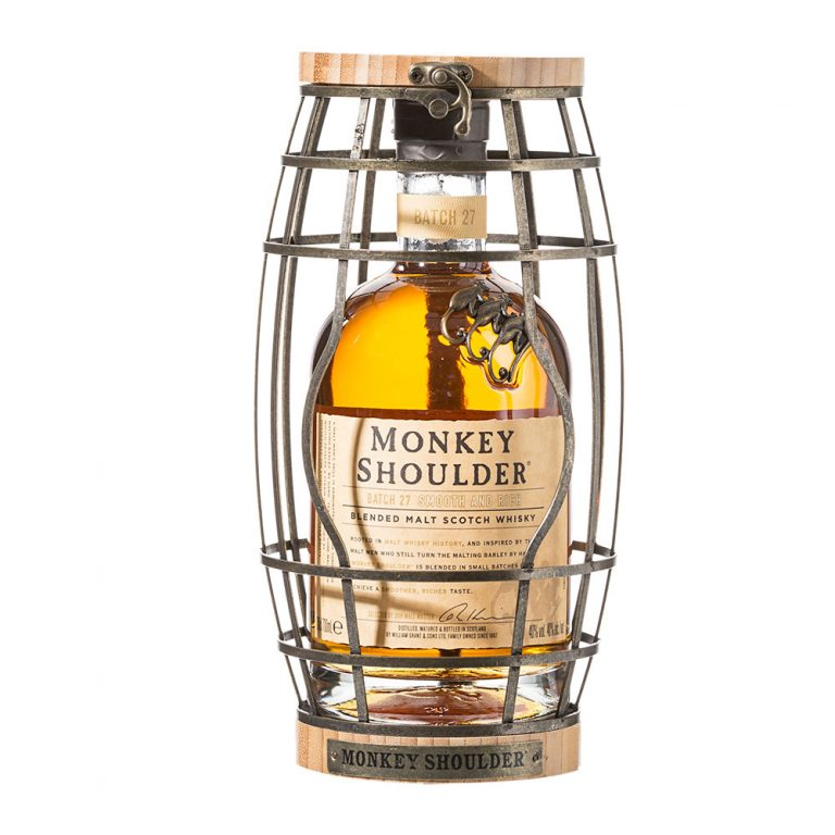Monkey Shoulder Scotch Whisky in a Barrel
