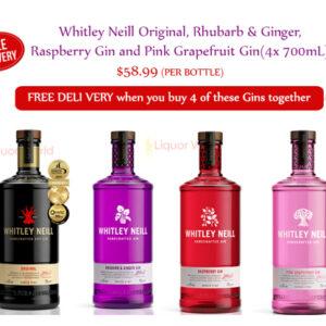 Whitley Neill Original, Rhubarb & Ginger, Raspberry Gin and Pink Grapefruit Gin(4x 700mL)