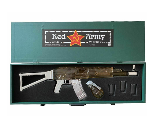 Red Army AK-47 Whiskey with Grenade & 3 Shot Glasses 700mL