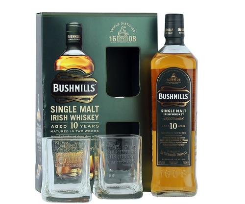 Bushmills 10 Year Old + 2 Glasses Gift Pack Single Malt Irish Whiskey 700mL