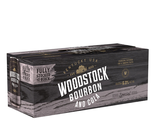Woodstock Bourbon & Cola 6% Cans 10 Pack 375ml