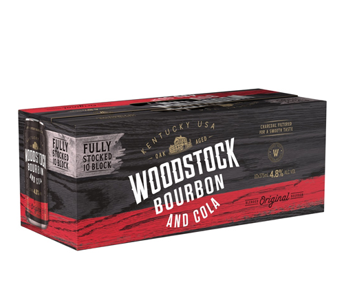 Woodstock Bourbon & Cola Cans 10 Pack 375mL